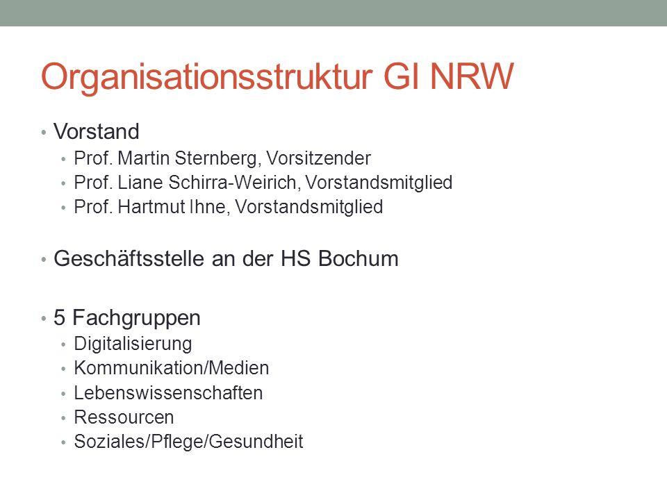 Organisationsstruktur GI NRW Vorstand Prof. Martin Sternberg, Vorsitzender Prof.