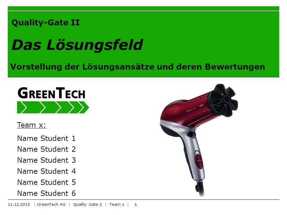 1 Quality-Gate II Das Lösungsfeld Vorstellung der Lösungsansätze und deren Bewertungen Team x: Name Student 1 Name Student 2 Name Student 3 Name Student 4 Name Student 5 Name Student 6 1 11.12.2015 | GreenTech AG | Quality Gate 2 | Team x |