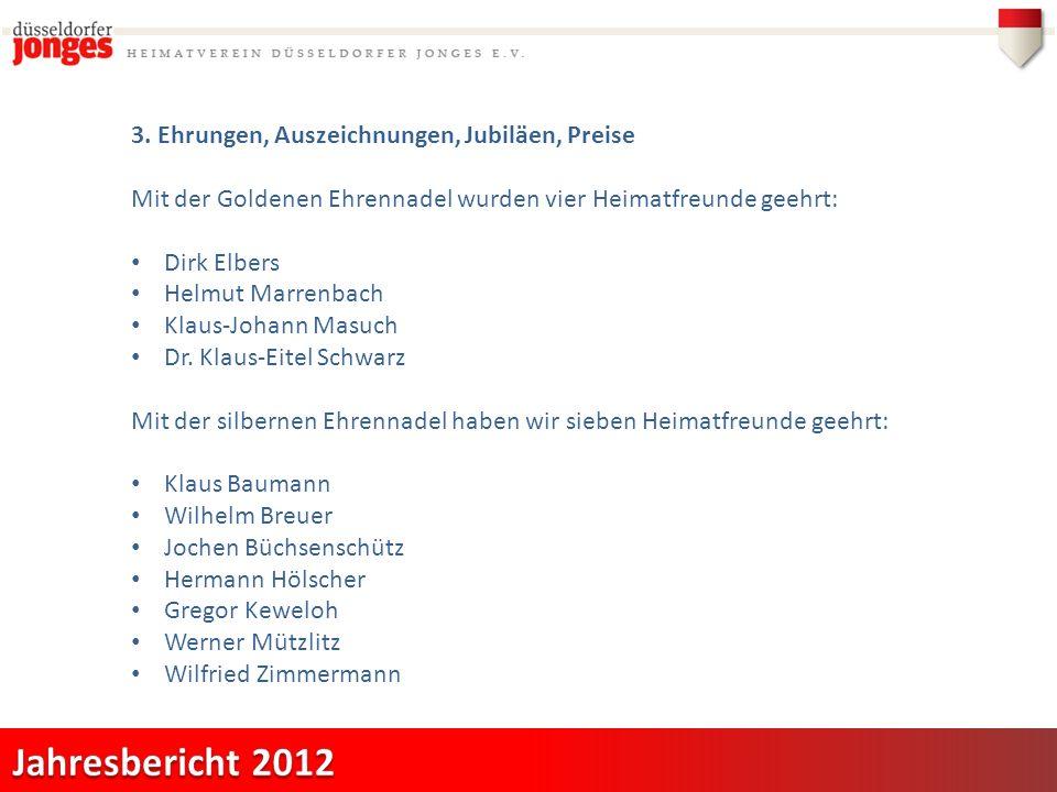 3. Ehrungen, Auszeichnungen, Jubiläen, Preise Mit der Goldenen Ehrennadel wurden vier Heimatfreunde geehrt: Dirk Elbers Helmut Marrenbach Klaus-Johann