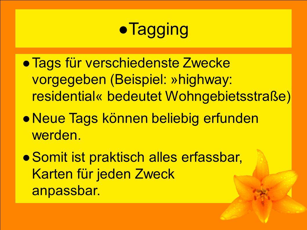 10 ●Tagging ●Tags für verschiedenste Zwecke vorgegeben (Beispiel: »highway: residential« bedeutet Wohngebietsstraße) ●Neue Tags können beliebig erfunden werden.