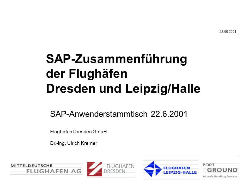 SAP-Zusammenführung der Flughäfen Dresden und Leipzig/Halle SAP-Anwenderstammtisch 22.6.2001 Flughafen Dresden GmbH Dr.-Ing. Ulrich Kramer 22.06.2001
