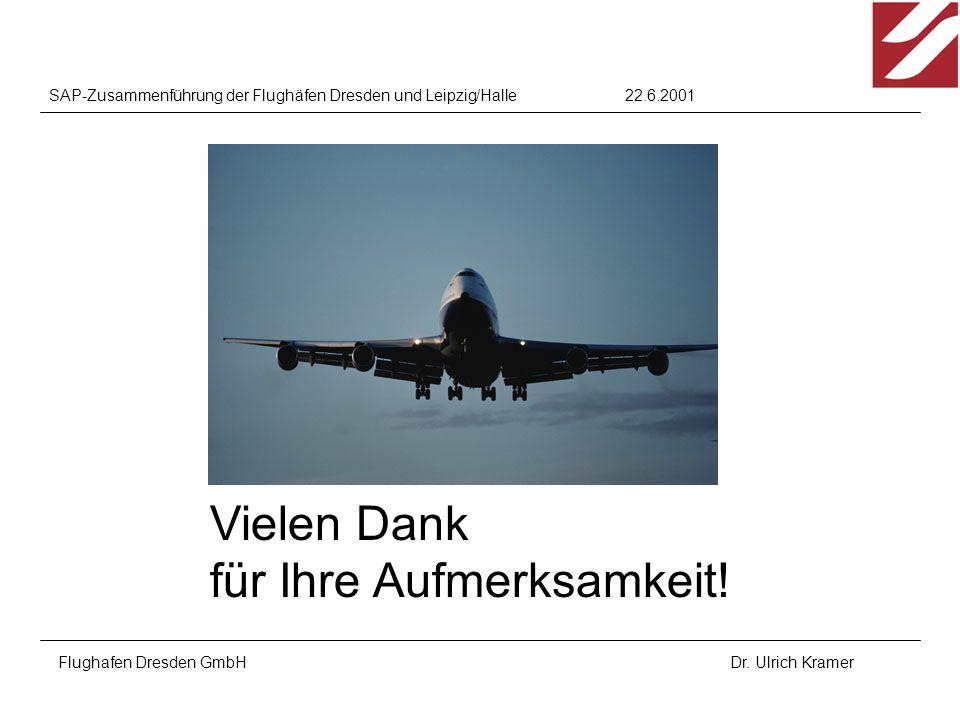22.6.2001SAP-Zusammenführung der Flughäfen Dresden und Leipzig/Halle Flughafen Dresden GmbHDr. Ulrich Kramer Vielen Dank für Ihre Aufmerksamkeit!