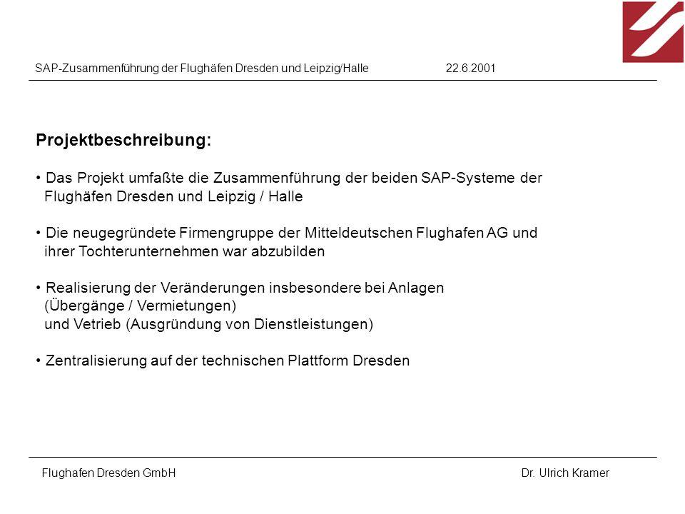 22.6.2001SAP-Zusammenführung der Flughäfen Dresden und Leipzig/Halle Flughafen Dresden GmbHDr. Ulrich Kramer Projektbeschreibung: Das Projekt umfaßte