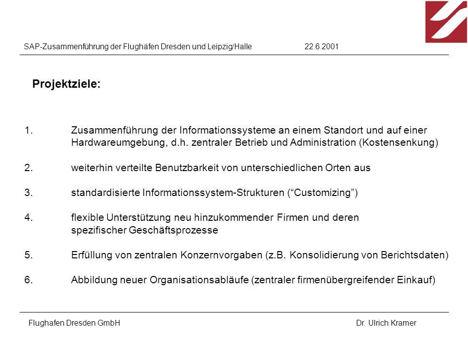 22.6.2001SAP-Zusammenführung der Flughäfen Dresden und Leipzig/Halle Flughafen Dresden GmbHDr. Ulrich Kramer 1.Zusammenführung der Informationssysteme
