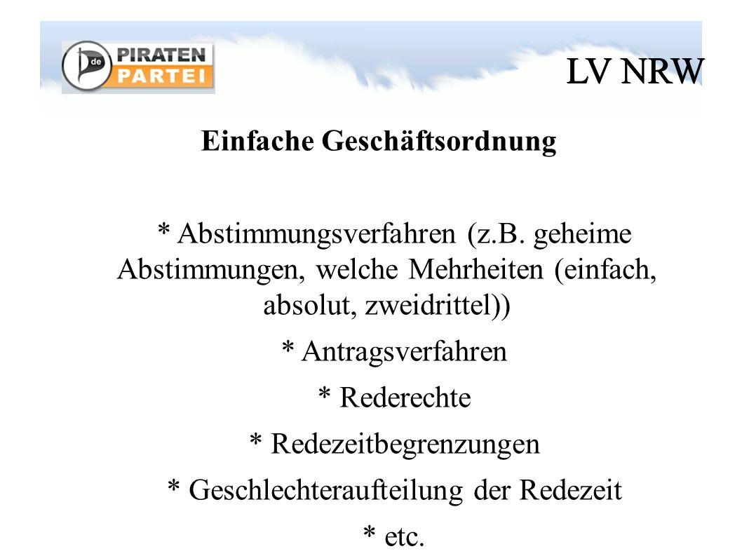LV NRW Einfache Geschäftsordnung * Abstimmungsverfahren (z.B.