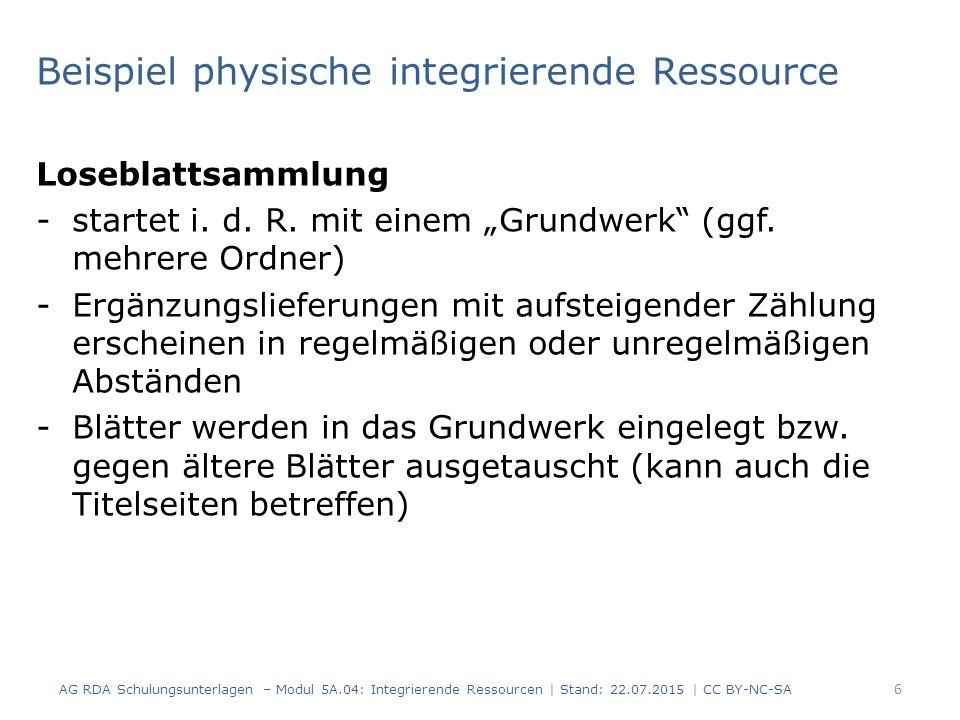 Beispiel physische integrierende Ressource Loseblattsammlung -startet i.
