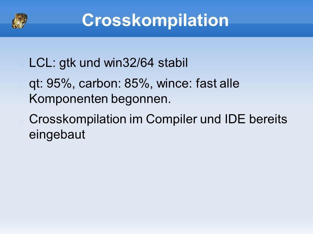 Crosskompilation LCL: gtk und win32/64 stabil qt: 95%, carbon: 85%, wince: fast alle Komponenten begonnen.