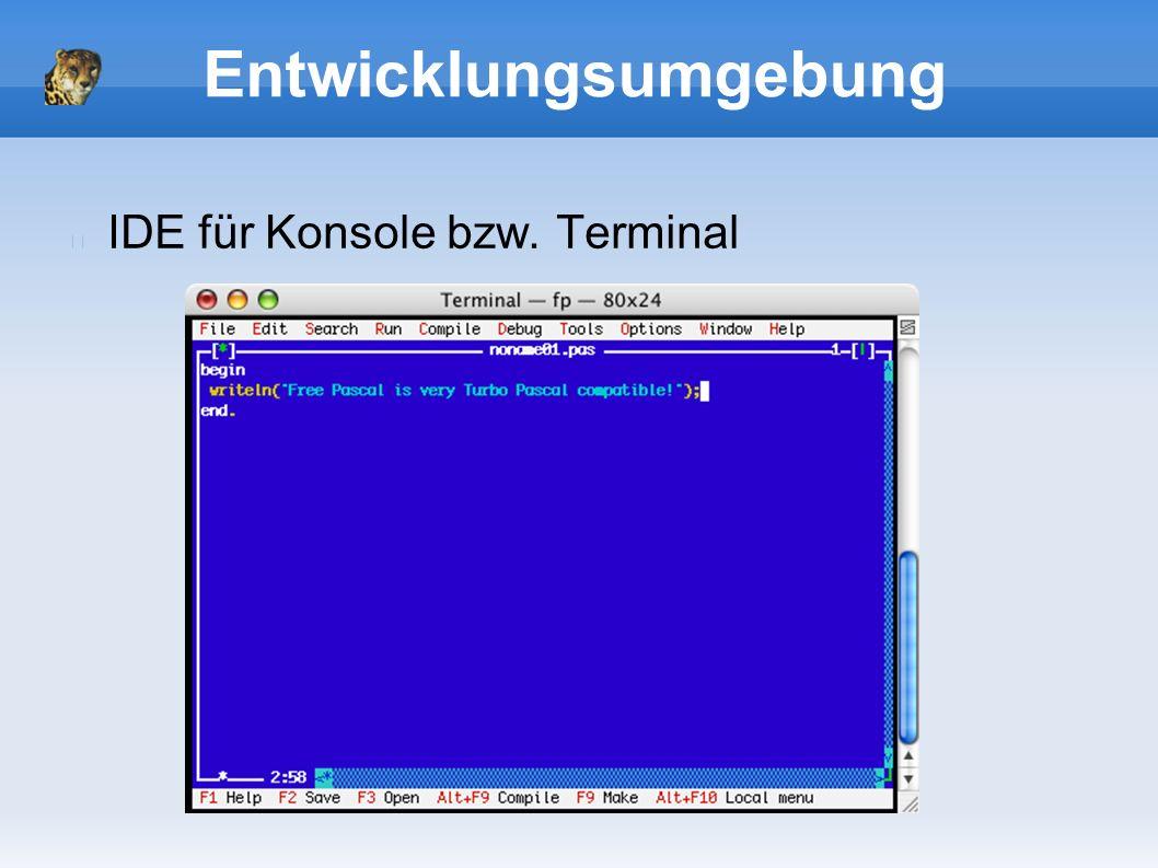 Entwicklungsumgebung IDE für Konsole bzw. Terminal