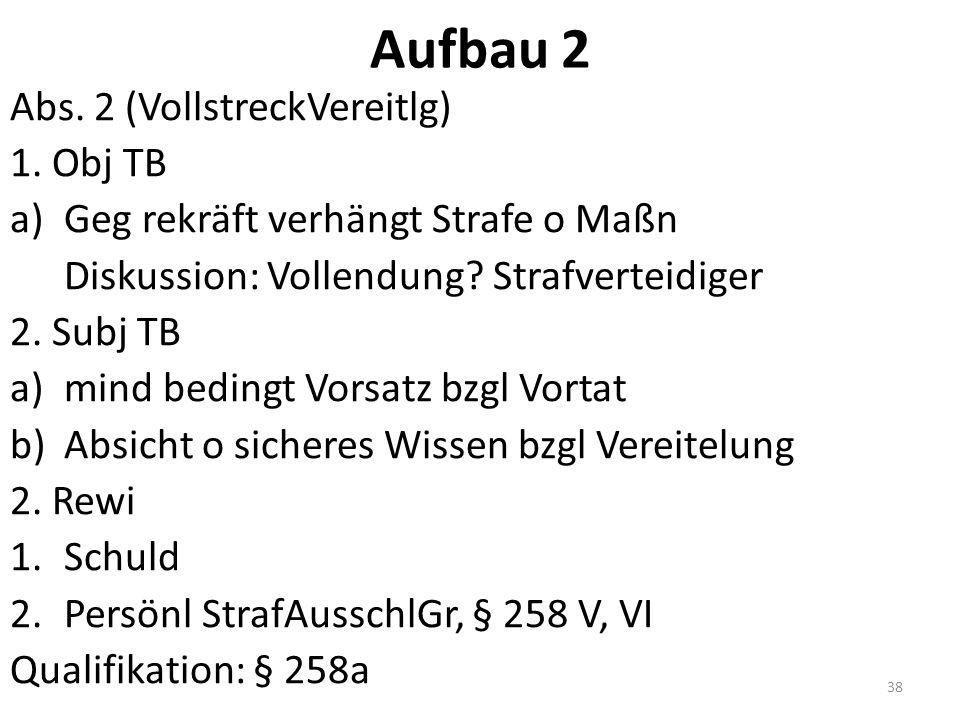 Aufbau 2 Abs. 2 (VollstreckVereitlg) 1.