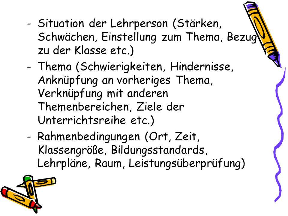 -Situation der Lehrperson (Stärken, Schwächen, Einstellung zum Thema, Bezug zu der Klasse etc.) -Thema (Schwierigkeiten, Hindernisse, Anknüpfung an vo