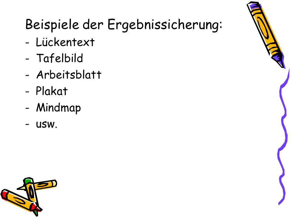 Beispiele der Ergebnissicherung: -Lückentext -Tafelbild -Arbeitsblatt -Plakat -Mindmap -usw.