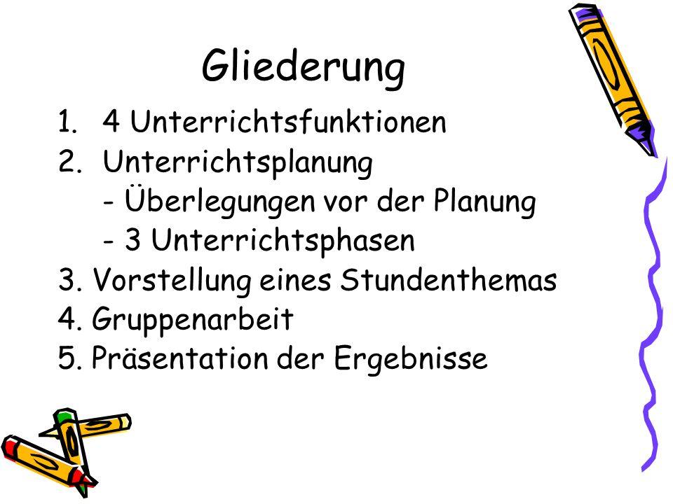Gliederung 1.4 Unterrichtsfunktionen 2.Unterrichtsplanung - Überlegungen vor der Planung - 3 Unterrichtsphasen 3. Vorstellung eines Stundenthemas 4. G