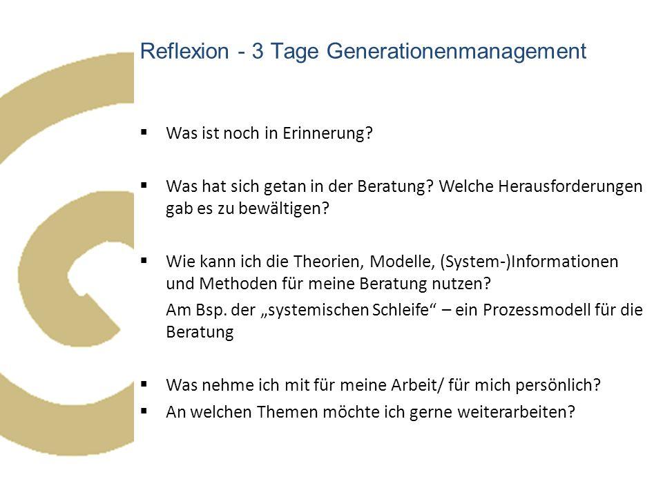 Reflexion - 3 Tage Generationenmanagement  Was ist noch in Erinnerung?  Was hat sich getan in der Beratung? Welche Herausforderungen gab es zu bewäl