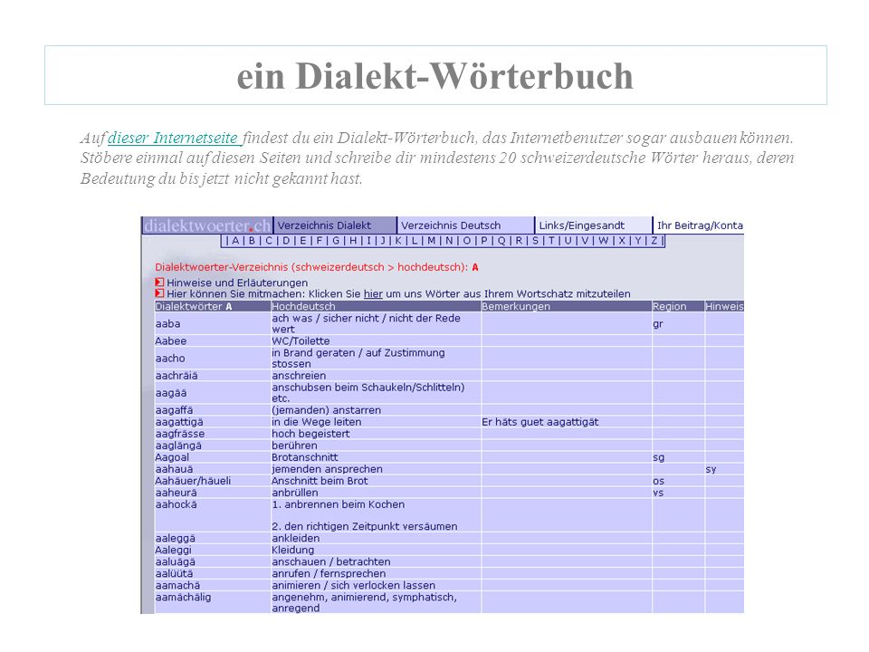 ein Dialekt-Wörterbuch Auf dieser Internetseite findest du ein Dialekt-Wörterbuch, das Internetbenutzer sogar ausbauen können.dieser Internetseite Stöbere einmal auf diesen Seiten und schreibe dir mindestens 20 schweizerdeutsche Wörter heraus, deren Bedeutung du bis jetzt nicht gekannt hast.