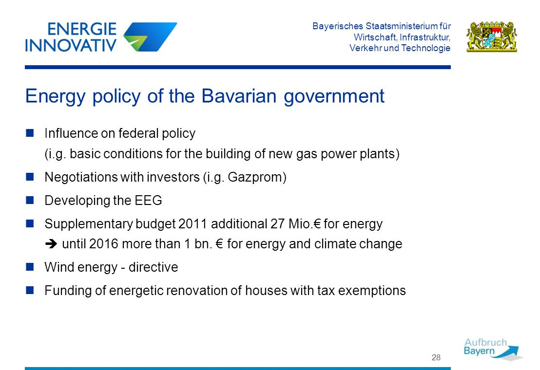 Bayerisches Staatsministerium für Wirtschaft, Infrastruktur, Verkehr und Technologie Energy policy of the Bavarian government Influence on federal policy (i.g.