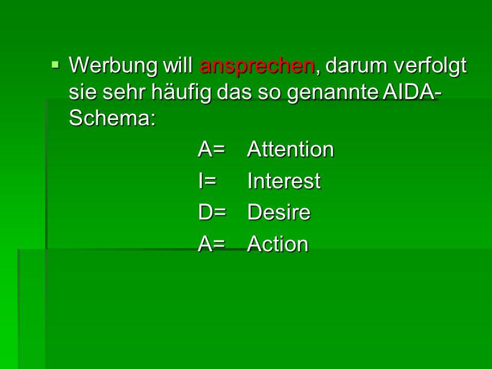  Werbung will ansprechen, darum verfolgt sie sehr häufig das so genannte AIDA- Schema: A=Attention I=Interest D=Desire A=Action