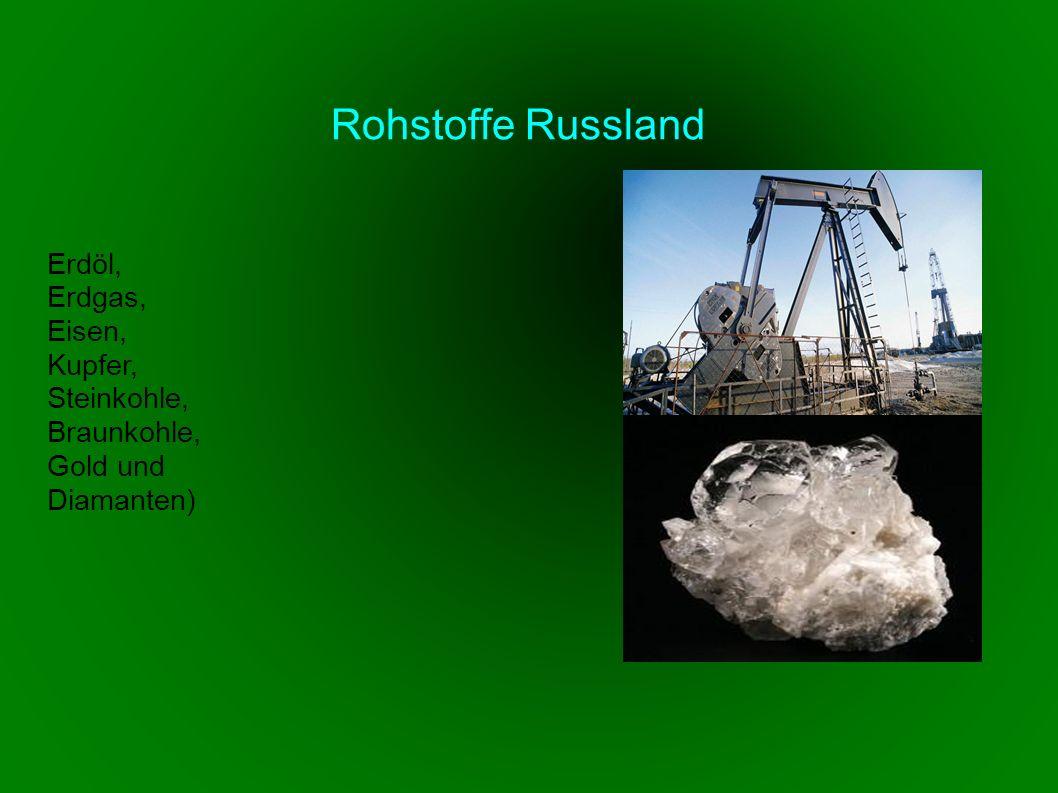Erdöl, Erdgas, Eisen, Kupfer, Steinkohle, Braunkohle, Gold und Diamanten) Rohstoffe Russland