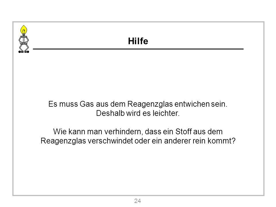 Hilfe Es muss Gas aus dem Reagenzglas entwichen sein.