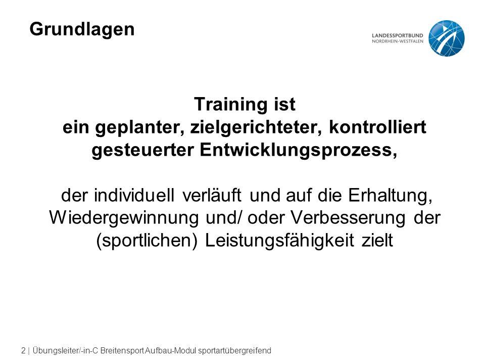 2 | Übungsleiter/-in-C Breitensport Aufbau-Modul sportartübergreifend Grundlagen Training ist ein geplanter, zielgerichteter, kontrolliert gesteuerter Entwicklungsprozess, der individuell verläuft und auf die Erhaltung, Wiedergewinnung und/ oder Verbesserung der (sportlichen) Leistungsfähigkeit zielt