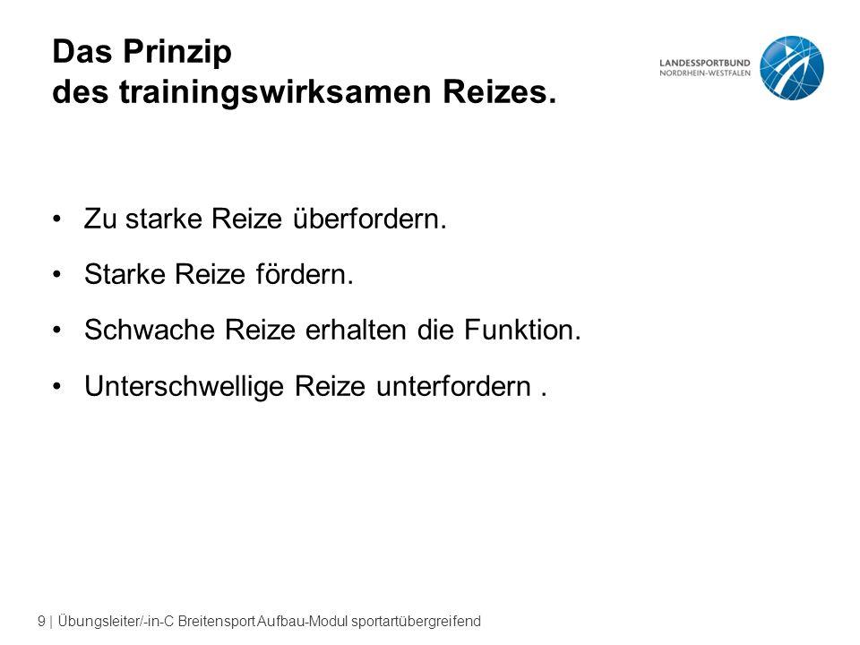 9 | Übungsleiter/-in-C Breitensport Aufbau-Modul sportartübergreifend Das Prinzip des trainingswirksamen Reizes.