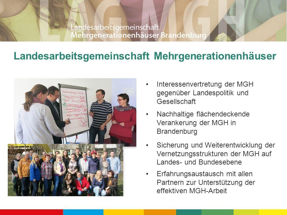 Landesarbeitsgemeinschaft Mehrgenerationenhäuser Interessenvertretung der MGH gegenüber Landespolitik und Gesellschaft Nachhaltige flächendeckende Ver