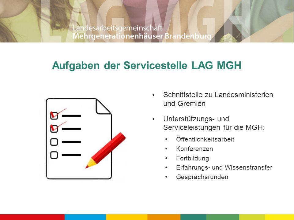 Aufgaben der Servicestelle LAG MGH Schnittstelle zu Landesministerien und Gremien Unterstützungs- und Serviceleistungen für die MGH: Öffentlichkeitsarbeit Konferenzen Fortbildung Erfahrungs- und Wissenstransfer Gesprächsrunden