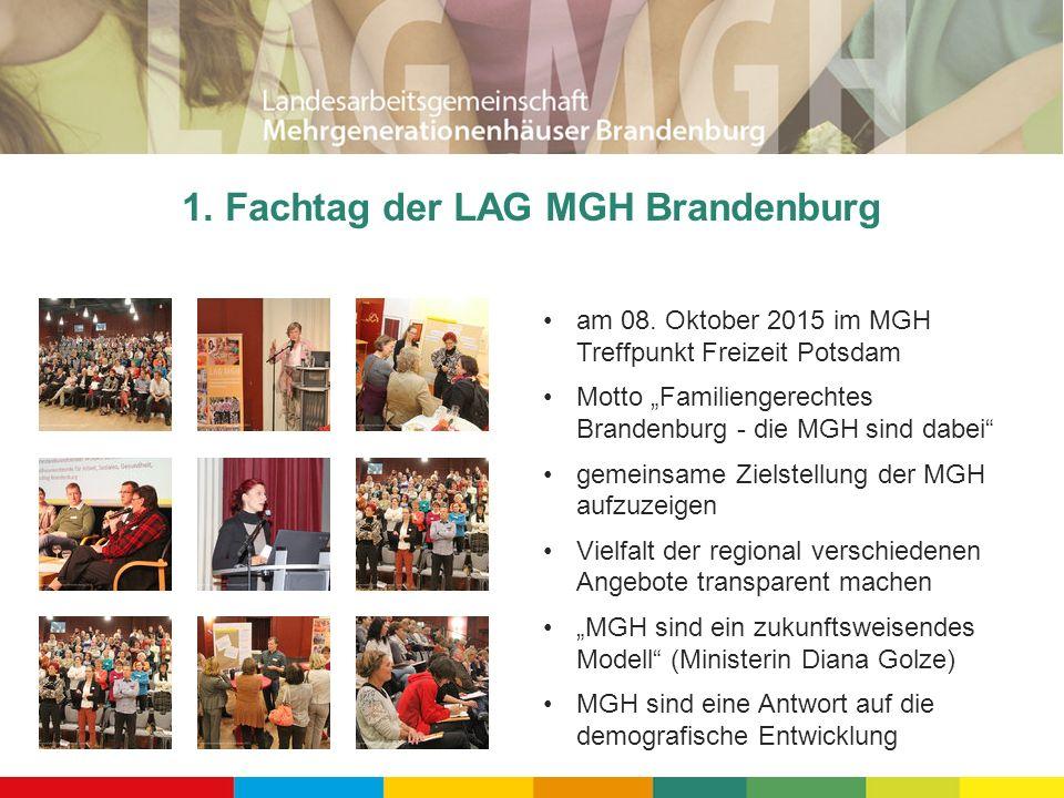"""1. Fachtag der LAG MGH Brandenburg am 08. Oktober 2015 im MGH Treffpunkt Freizeit Potsdam Motto """"Familiengerechtes Brandenburg - die MGH sind dabei"""" g"""