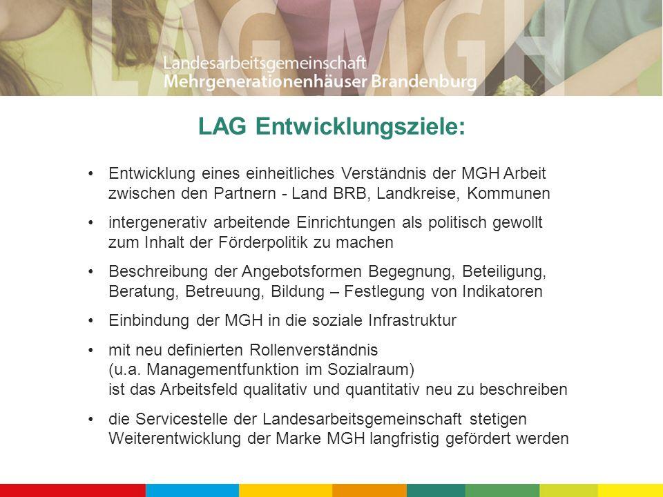 LAG Entwicklungsziele: Entwicklung eines einheitliches Verständnis der MGH Arbeit zwischen den Partnern - Land BRB, Landkreise, Kommunen intergenerati