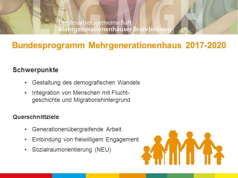 Schwerpunkte Gestaltung des demografischen Wandels Integration von Menschen mit Flucht- geschichte und Migrationshintergrund Querschnittziele Generationenübergreifende Arbeit Einbindung von freiwilligem Engagement Sozialraumorientierung (NEU) Bundesprogramm Mehrgenerationenhaus 2017-2020
