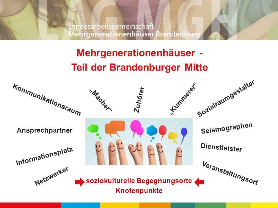 Mehrgenerationenhäuser - Teil der Brandenburger Mitte soziokulturelle Begegnungsorte Knotenpunkte Ansprechpartner Kommunikationsraum Zuhörer Dienstlei