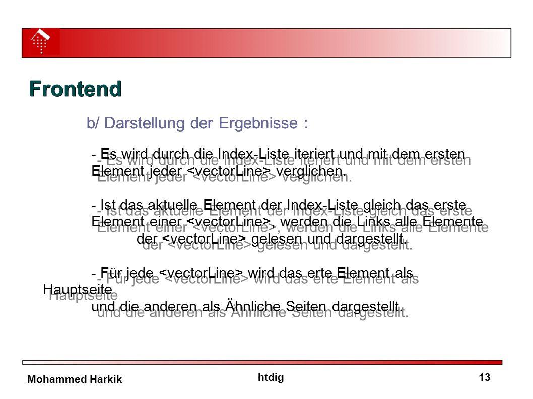 13htdig Mohammed Harkik b/ Darstellung der Ergebnisse : - Es wird durch die Index-Liste iteriert und mit dem ersten Element jeder verglichen. - Ist da