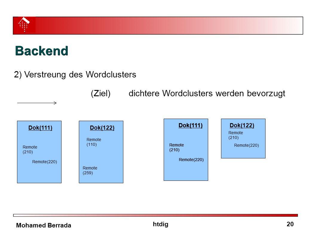 20htdig Mohamed Berrada Backend 2) Verstreung des Wordclusters (Ziel)dichtere Wordclusters werden bevorzugt Dok(111) Remote (210) Remote(220) Dok(122)