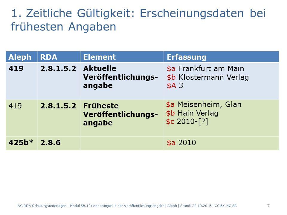 1. Zeitliche Gültigkeit: Erscheinungsdaten bei frühesten Angaben 7 AlephRDAElementErfassung 4192.8.1.5.2Aktuelle Veröffentlichungs- angabe $a Frankfur