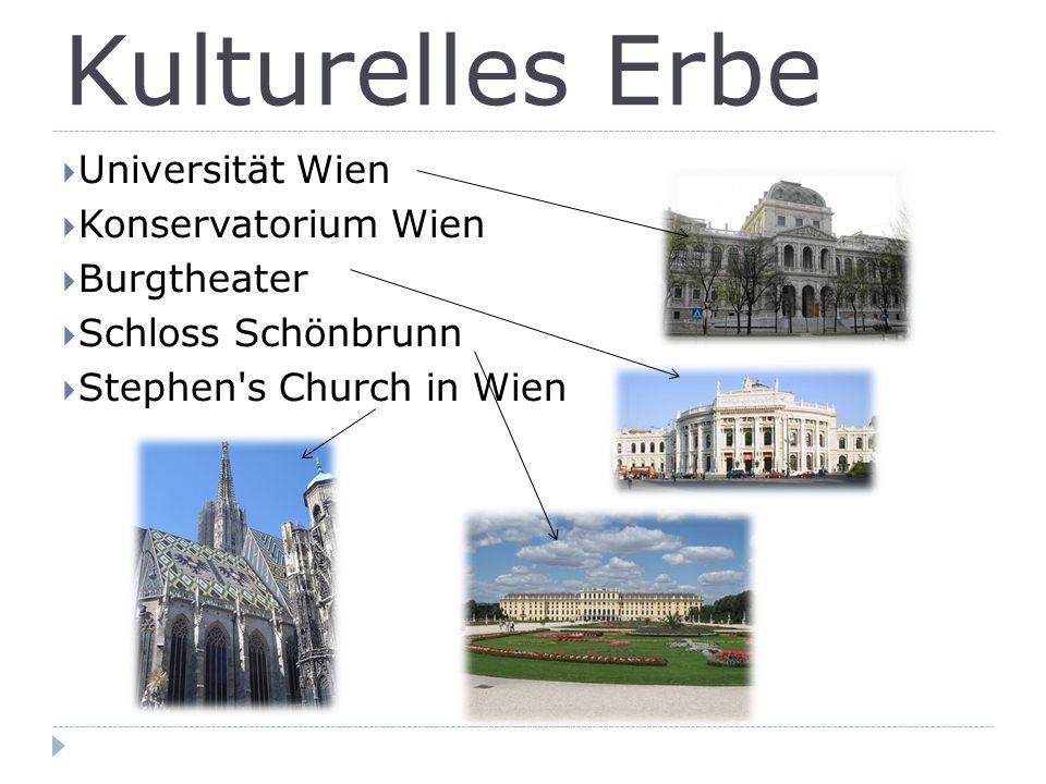 Kulturelles Erbe  Universität Wien  Konservatorium Wien  Burgtheater  Schloss Schönbrunn  Stephen s Church in Wien