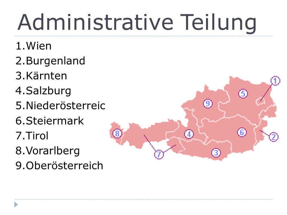 Administrative Teilung 1.Wien 2.Burgenland 3.Kärnten 4.Salzburg 5.Niederösterreich 6.Steiermark 7.Tirol 8.Vorarlberg 9.Oberösterreich