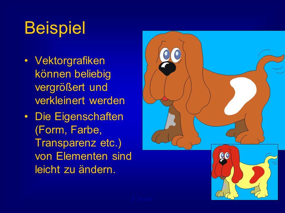 F. Müller Beispiel Vektorgrafiken können beliebig vergrößert und verkleinert werden Die Eigenschaften (Form, Farbe, Transparenz etc.) von Elementen si