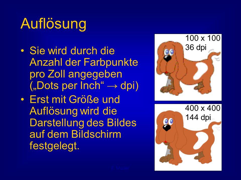 """F. Müller Auflösung Sie wird durch die Anzahl der Farbpunkte pro Zoll angegeben (""""Dots per Inch"""" → dpi) Erst mit Größe und Auflösung wird die Darstell"""