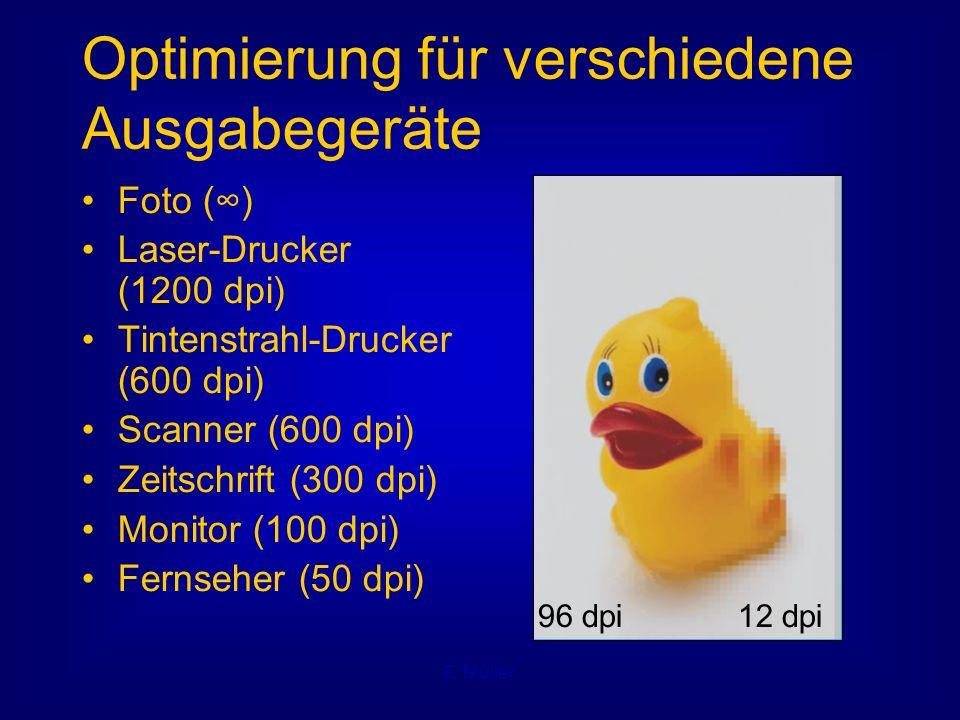 F. Müller Optimierung für verschiedene Ausgabegeräte Foto (∞) Laser-Drucker (1200 dpi) Tintenstrahl-Drucker (600 dpi) Scanner (600 dpi) Zeitschrift (3