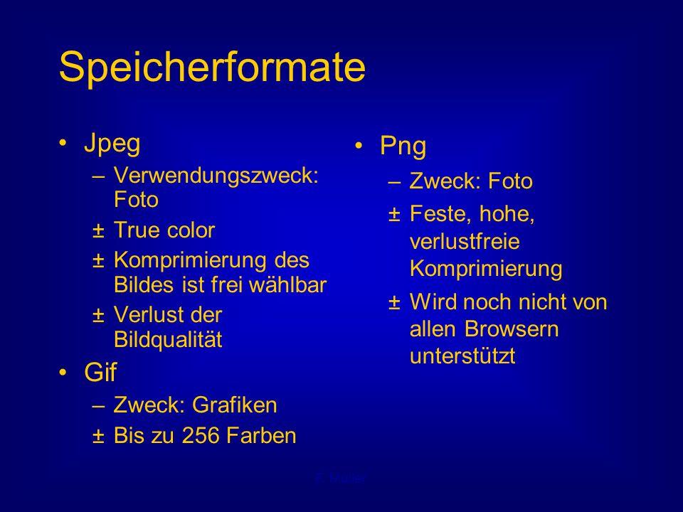 F. Müller Speicherformate Jpeg – Verwendungszweck: Foto ± True color ± Komprimierung des Bildes ist frei wählbar ± Verlust der Bildqualität Gif – Zwec