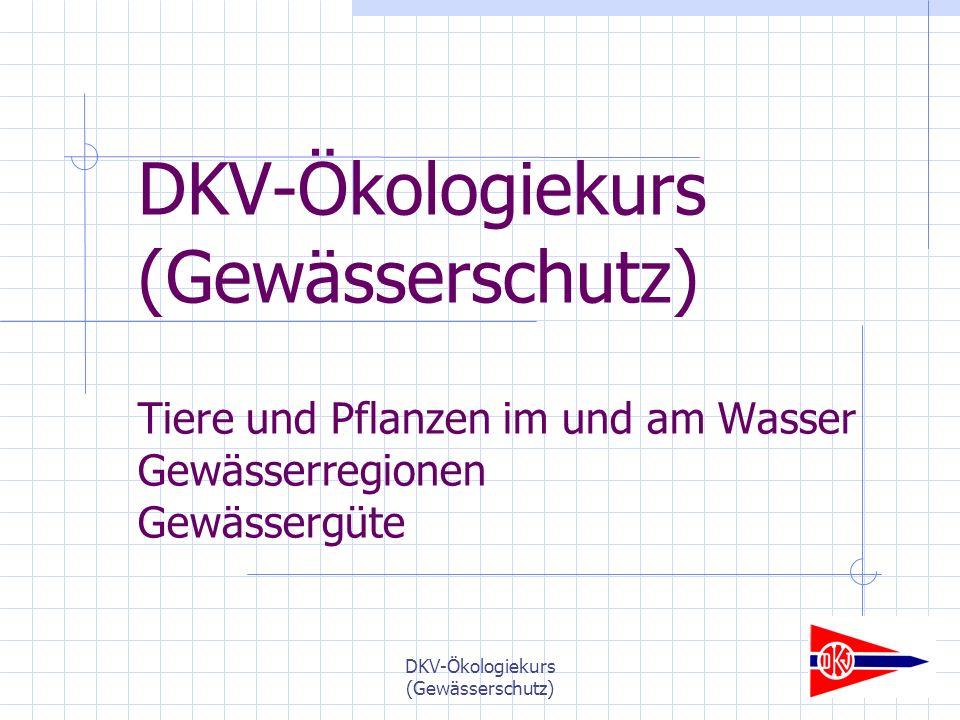 DKV-Ökologiekurs (Gewässerschutz) DKV-Ökologiekurs (Gewässerschutz) Tiere und Pflanzen im und am Wasser Gewässerregionen Gewässergüte