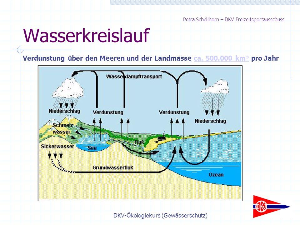 DKV-Ökologiekurs (Gewässerschutz) Wasserkreislauf Verdunstung über den Meeren und der Landmasse ca.