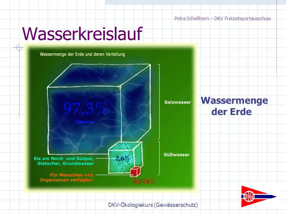 DKV-Ökologiekurs (Gewässerschutz) Wasserkreislauf Wassermenge der Erde Petra Schellhorn – DKV Freizeitsportausschuss