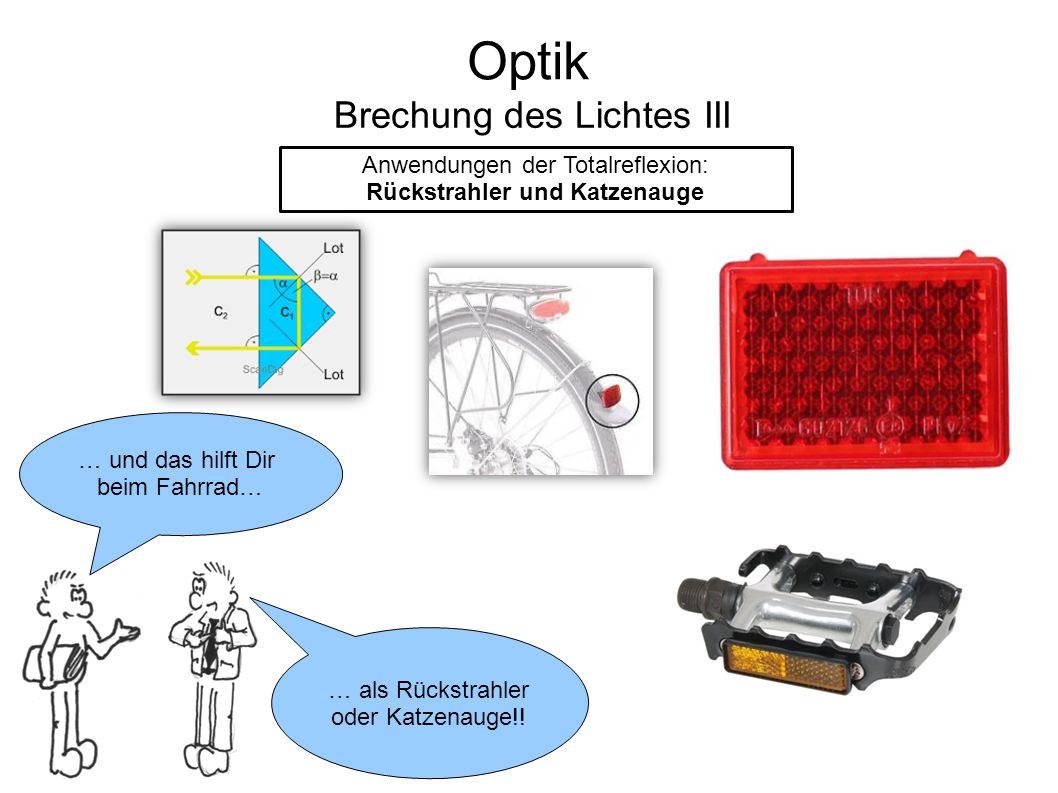 Optik Brechung des Lichtes III Anwendungen der Totalreflexion: Rückstrahler und Katzenauge … und das hilft Dir beim Fahrrad… … als Rückstrahler oder Katzenauge!!