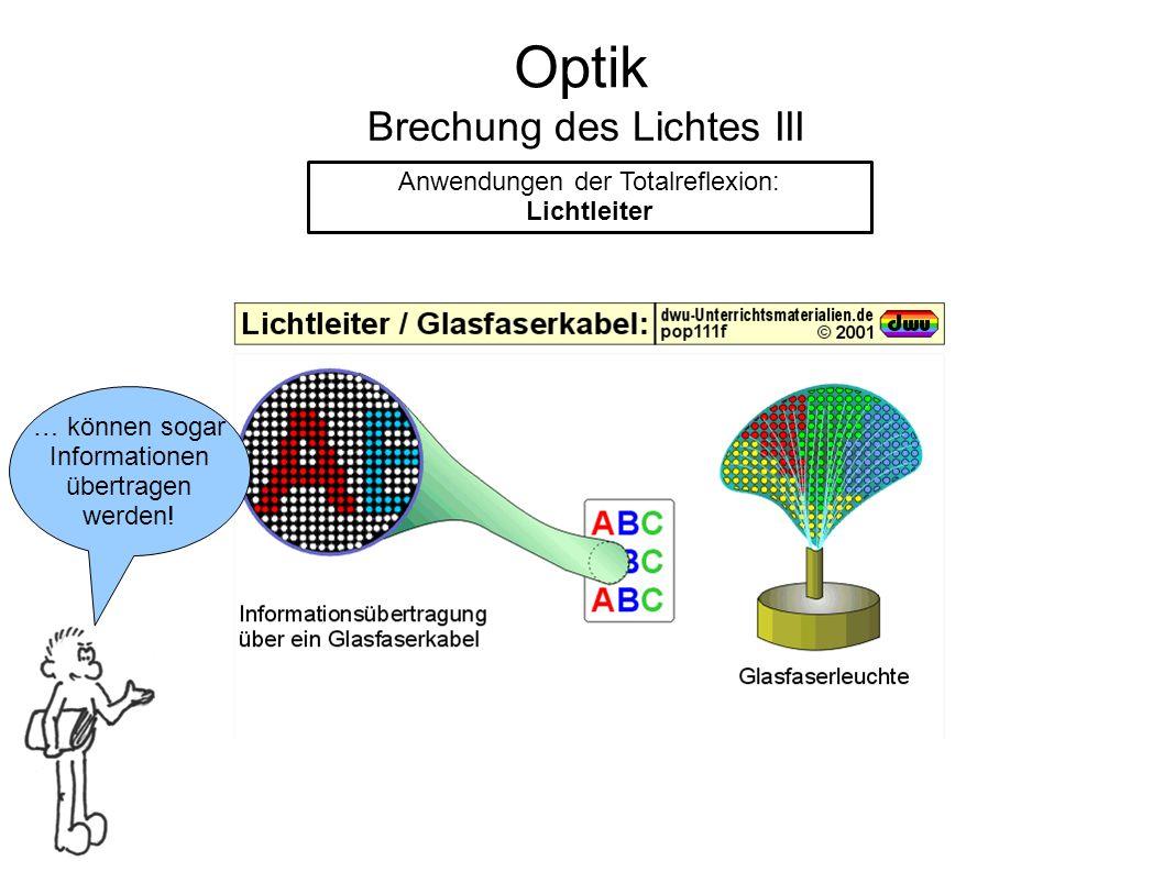 Optik Brechung des Lichtes III Anwendungen der Totalreflexion: Lichtleiter … können sogar Informationen übertragen werden!
