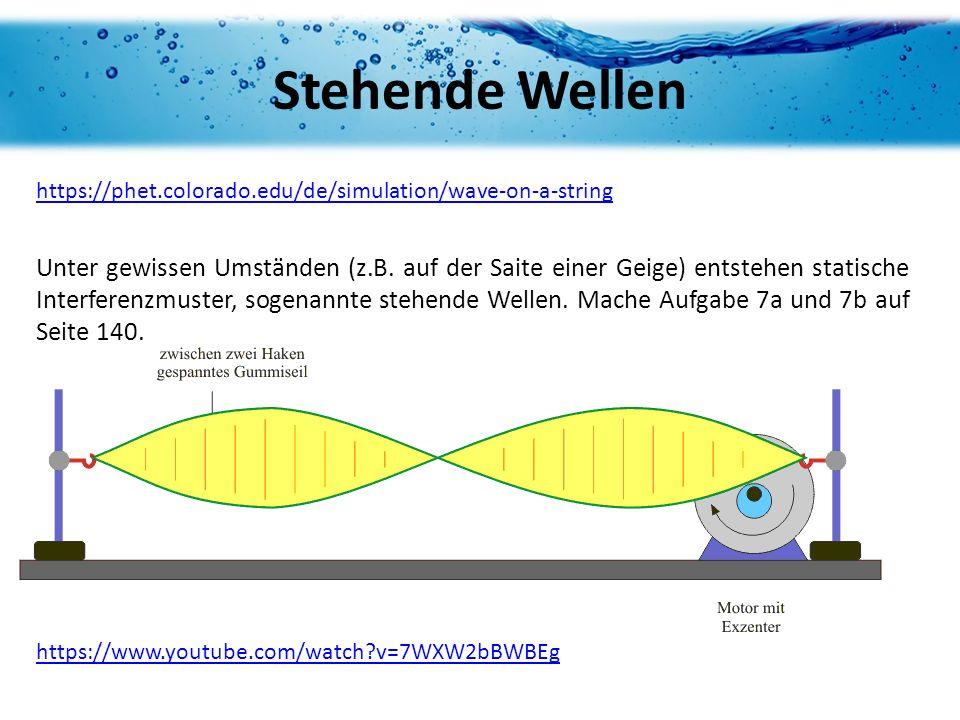 Stehende Wellen https://phet.colorado.edu/de/simulation/wave-on-a-string Unter gewissen Umständen (z.B. auf der Saite einer Geige) entstehen statische