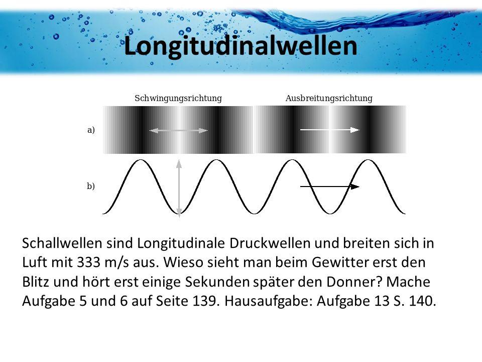 Longitudinalwellen Schallwellen sind Longitudinale Druckwellen und breiten sich in Luft mit 333 m/s aus. Wieso sieht man beim Gewitter erst den Blitz