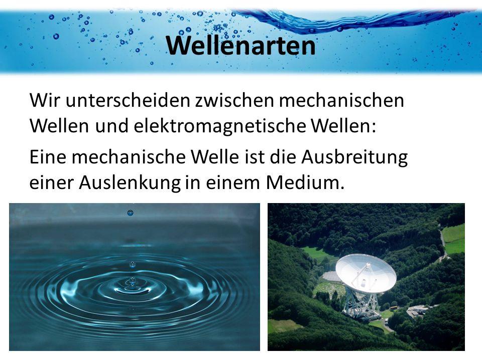 Wellenarten Wir unterscheiden zwischen mechanischen Wellen und elektromagnetische Wellen: Eine mechanische Welle ist die Ausbreitung einer Auslenkung in einem Medium.