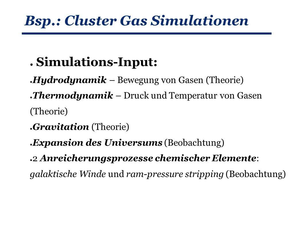 Bsp.: Cluster Gas Simulationen ● Simulations-Input: ● Hydrodynamik – Bewegung von Gasen (Theorie) ● Thermodynamik – Druck und Temperatur von Gasen (Theorie) ● Gravitation (Theorie) ● Expansion des Universums (Beobachtung) ● 2 Anreicherungsprozesse chemischer Elemente: galaktische Winde und ram-pressure stripping (Beobachtung)