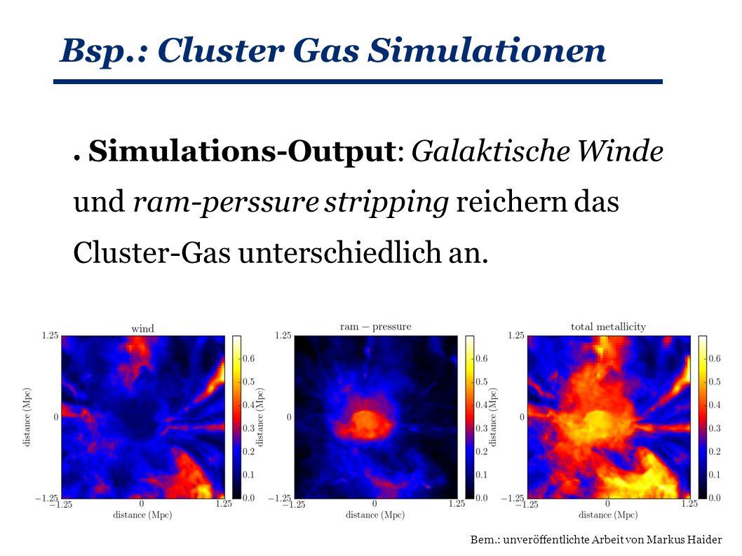 Bsp.: Cluster Gas Simulationen ● Simulations-Output: Galaktische Winde und ram-perssure stripping reichern das Cluster-Gas unterschiedlich an.