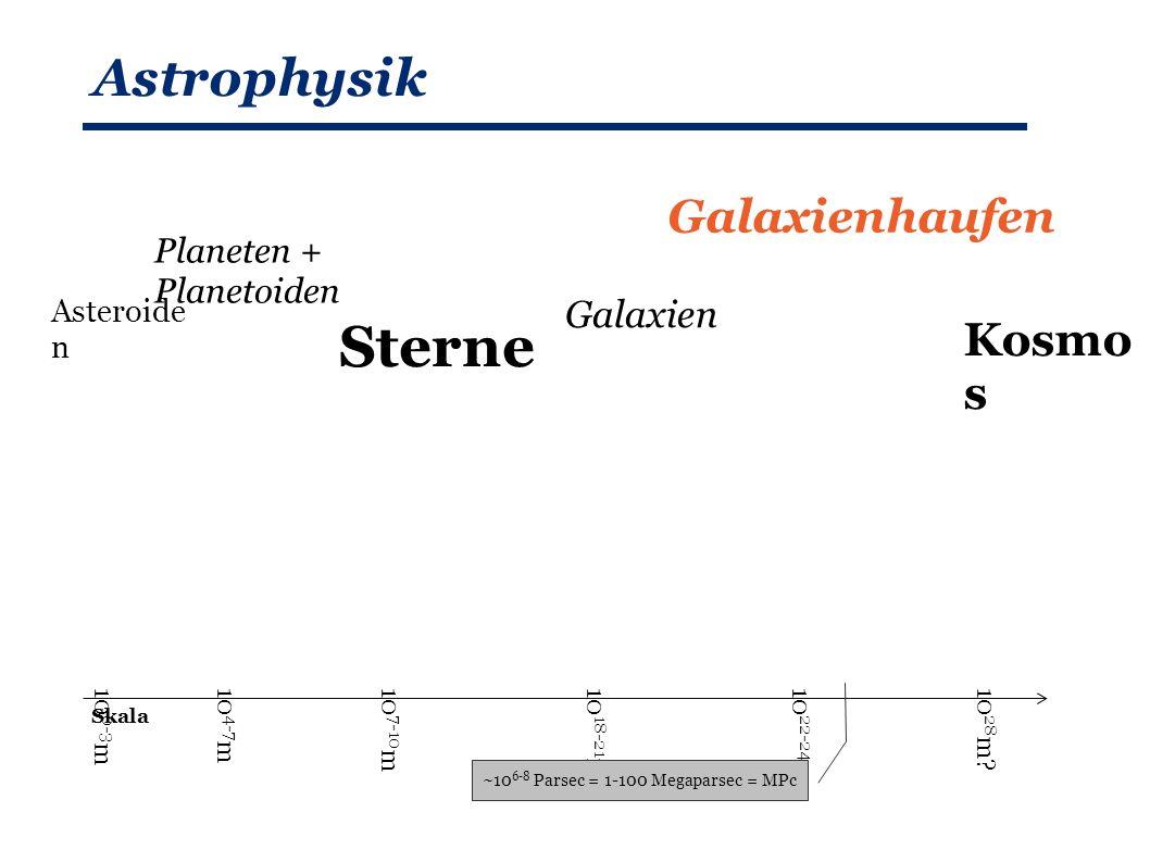Astrophysik Planeten + Planetoiden Sterne Galaxien Galaxienhaufen Kosmo s Asteroide n Skala 10 4-7 m10 7-10 m10 0-3 m10 18-21 m10 22-24 m10 28 m.
